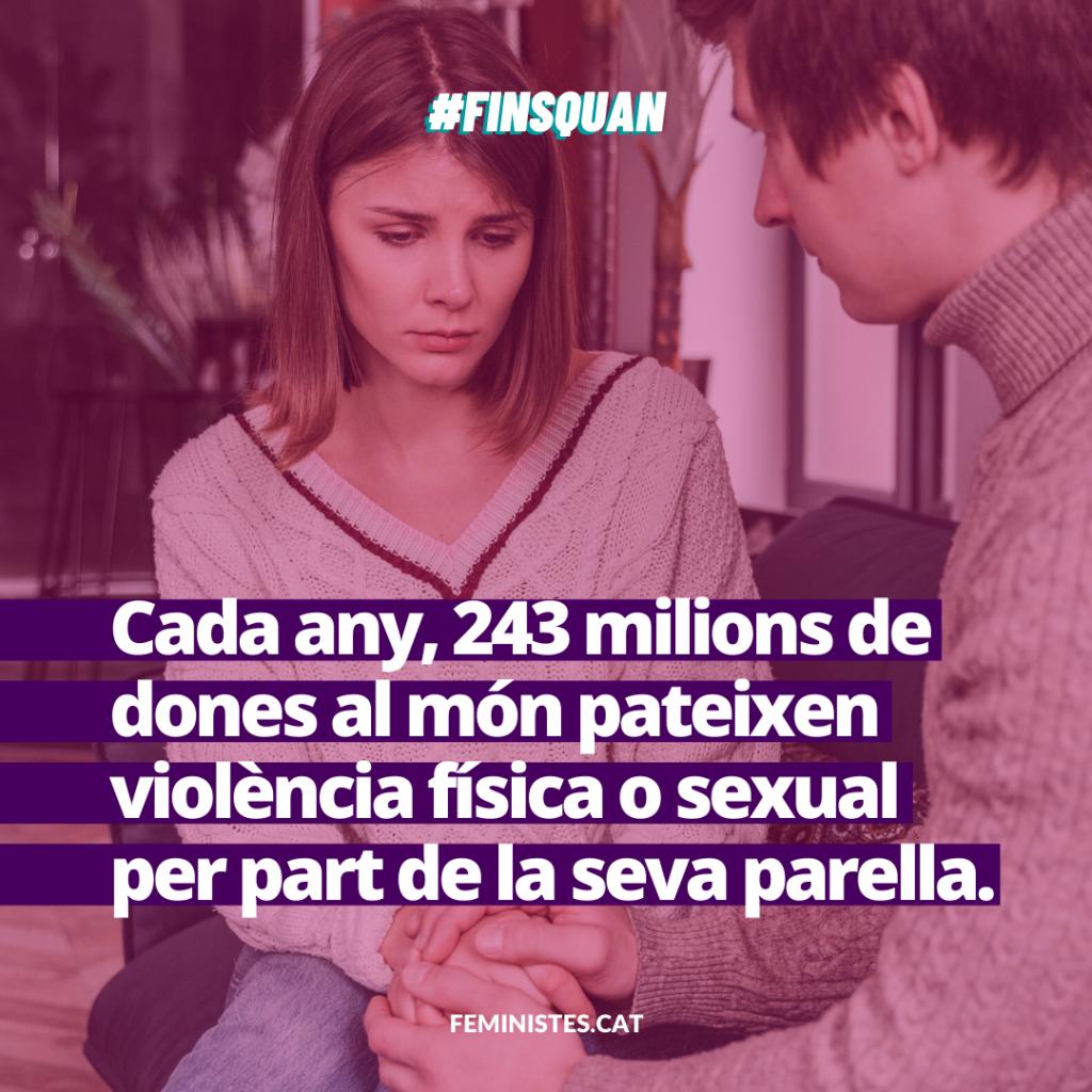 Cada any, 243 milions de dones al món pateixen violència física o sexual per part de la seva parella.